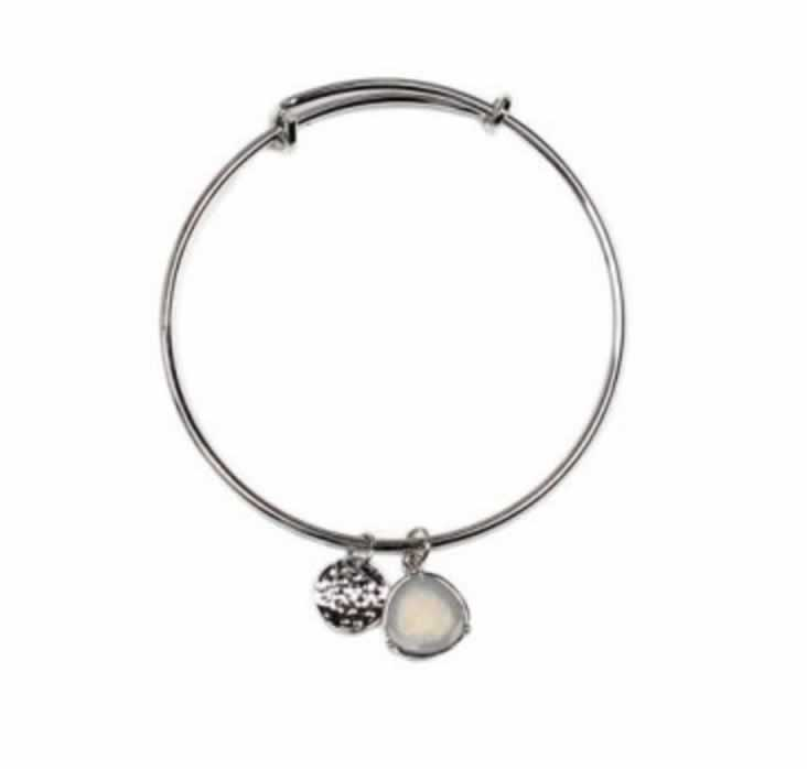 Silver gem & coin bangle