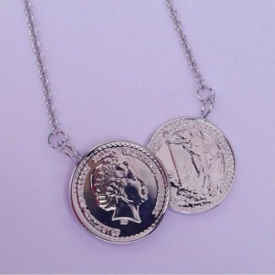 Silver double coin necklace