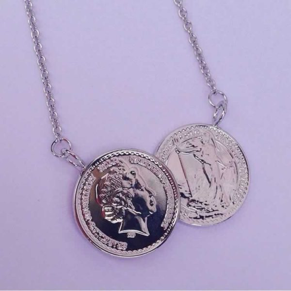 Silver double coin necklace